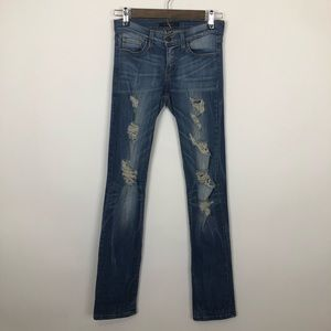 Flying monkey distressed  ripped medium wash 25